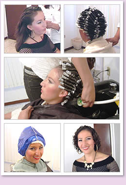Young woman getting a haircut and perm.